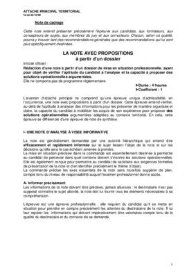 Note de cadrage concours lieutenant notice - Grille indiciaire attache territorial principal ...