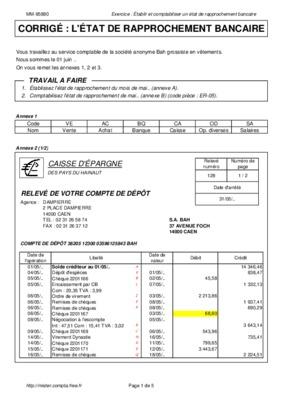 Etat De Rapprochement Bancaire Exercice Et Corrige.pdf ...