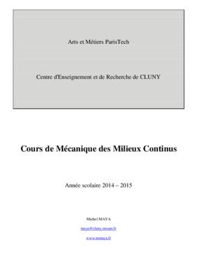 Mecanique Des Milieux Continus Cours Et Exercices Corriges ...