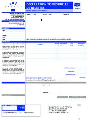 formulaire declaration trimestrielle rsi auto entrepreneur