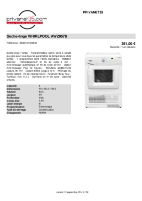 whirlpool seche linge sole 2005 vue notice. Black Bedroom Furniture Sets. Home Design Ideas