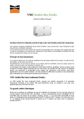 Cta double flux notice manuel d 39 utilisation - Cta double flux ...