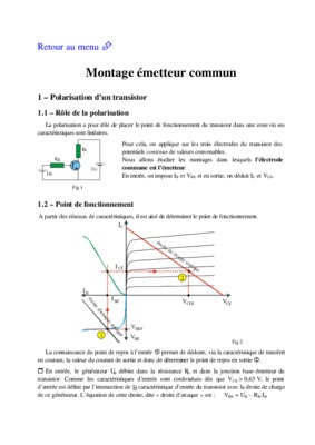 Exercices corrige polarisation du notice for Transistor fonctionnement