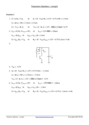 Exercices corriges sur le transistor bipolaire en regime for Le transistor