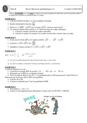 DEVOIR DM A RENDRE M 5ème Mathématiques