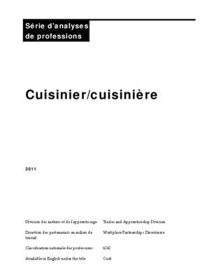 Tenue professionnelle du notice manuel d for Cuisinier 71