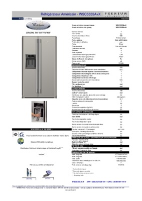 frigo americain whirlpool s20b notice manuel d 39 utilisation. Black Bedroom Furniture Sets. Home Design Ideas
