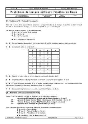 Exercices algebre de boole et fonction notice for Circuit logique pdf