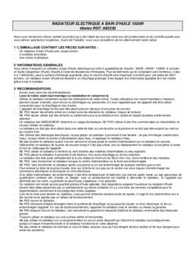 Radiateur fluide sirelia notice manuel d - Radiateur a bain d huile conseil d utilisation ...