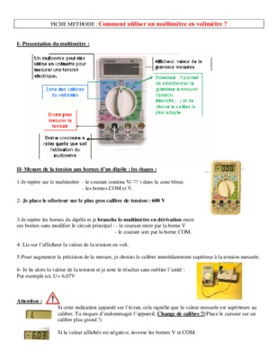 Amperemetre notice manuel d 39 utilisation - Comment utiliser un multimetre ...