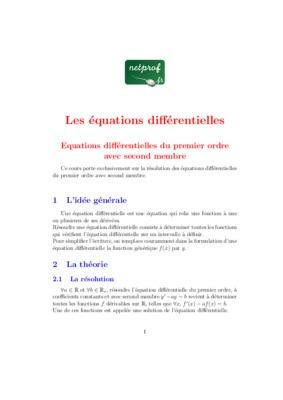 Equation differentielle 2eme ordre avec second membre pdf free