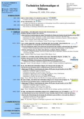 Exemple de CV technicien en automatismes