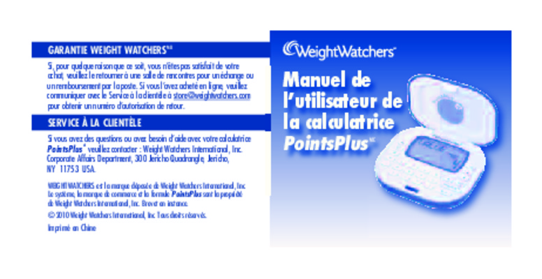 Calculatrice Weight Watchers Propoints.pdf notice & manuel ...