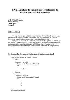 Exercices De Traitement De Signal Tranformee De Fourier ...