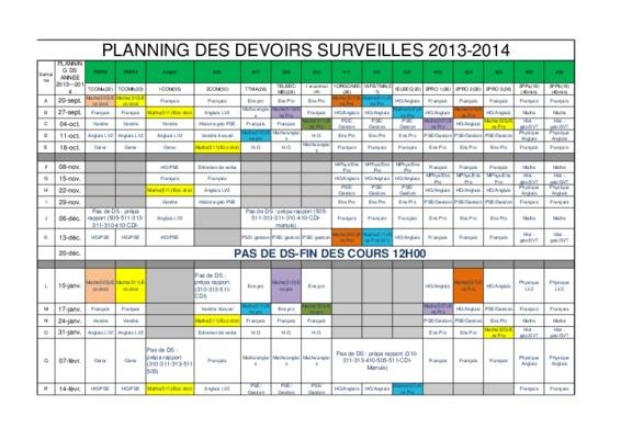 2019 Planning des Devoirs Surveillés 3ème DATE