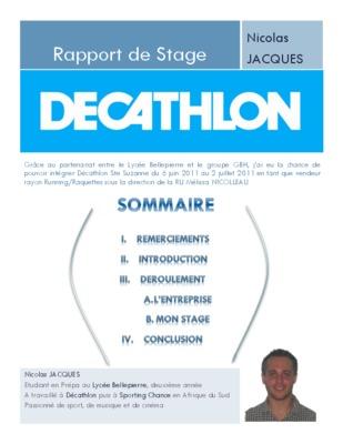Rapport Stage Decathlon Pdf Notice Manuel D Utilisation