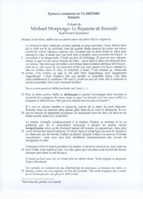 Le Roi Arthur Michael Morpurgo Resume Par Chapitre Pdf Notice