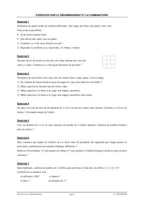 Exercices Sur Le Denombrement Et La Combinatoire Exercice 1 On Corriges Pdf Notice Manuel D Utilisation