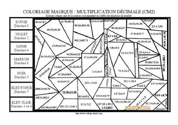 Coloriage Magique Comparer Des Fractions T Des Decimaux Fiche 16 Cm2 Pdf Notice Manuel D Utilisation