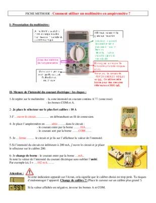Notice multimetre notice manuel d 39 utilisation - Comment utiliser un multimetre ...
