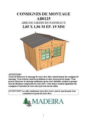 Abri jardin mr notice manuel d 39 utilisation for Garage bois mr bricolage