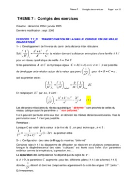 M - cours et exercices corriges : cristallographie, diffractionjean-pierre.lauriat.pagesperso-orange.fr/exercices01/lecorrig07.pdftheme 7 : corriges des exercices page 1 sur 22. theme 7 : corriges