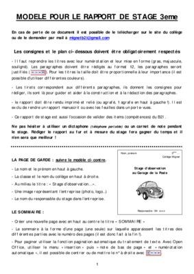Rapport de stage d'observation pdf