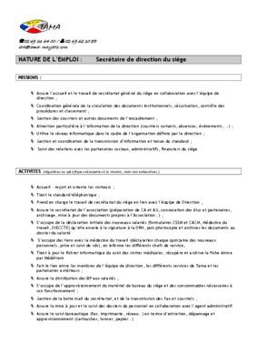 Fiche De Poste Secretaire.pdf notice & manuel d'utilisation