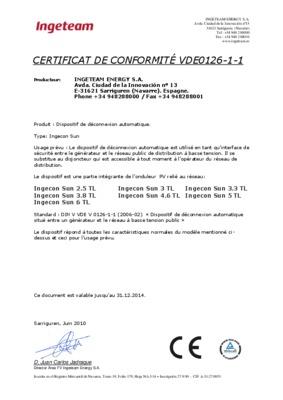Certificat de conformite onduleur schuco notice - Certificat de conformite gaz ...