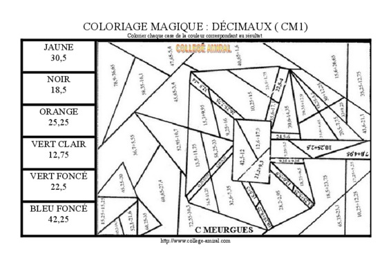 Nombres decimaux addition et soustaction fiche 20 cm2 - Coloriage magique cm2 francais ...