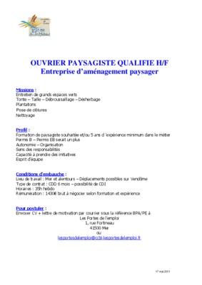 Ouvrier qualifie notice manuel d 39 utilisation for Ouvrier entretien espaces verts