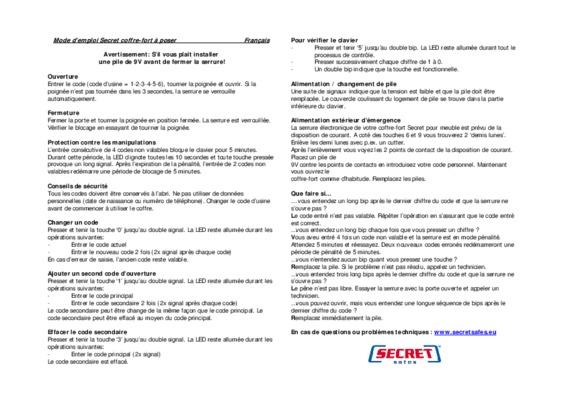 coffre fort bricard pdf notice  u0026 manuel d u0026 39 utilisation