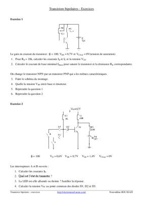 Recherche exercices corrigés transistor bipolaire