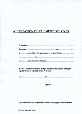 Attestation Loyers Caf