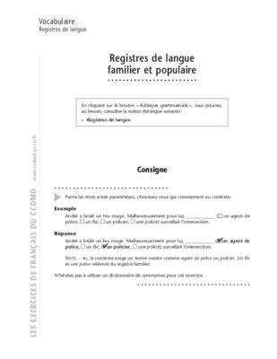 Niveau de langue CM2 - Cycle 3