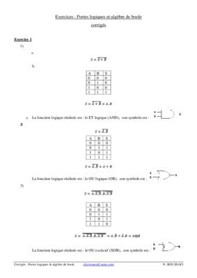 Algebre lineaire exercices notice manuel d for Portes logiques pdf