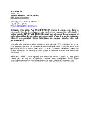 Notice manuel d 39 utilisation for Plv broker