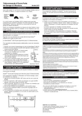 Moteur ecostar porte de notice manuel d - Telecommande porte de garage ecostar ...
