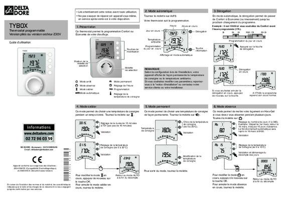 Notice gp36 delta notice manuel d 39 utilisation for Delta dore calybox 220