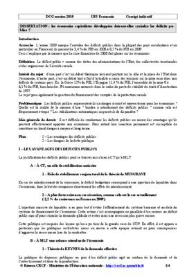 La dissertation d'économie : le plan détaillé / Crises, Etat et régulation économique