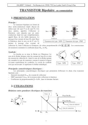 Transistor notice manuel d 39 utilisation for Transistor fonctionnement