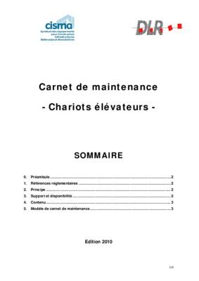 Carnet de maintenance chariot élévateur